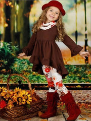 Girls Long Sleeve Ruffled Tunic Floral Leggings & Scarf Set - Girls Fall Casual Set