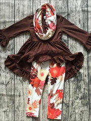 Girls Long Sleeve Ruffled Tunic Floral Leggings & Scarf Set - Brown / XS-2T - Girls Fall Casual Set
