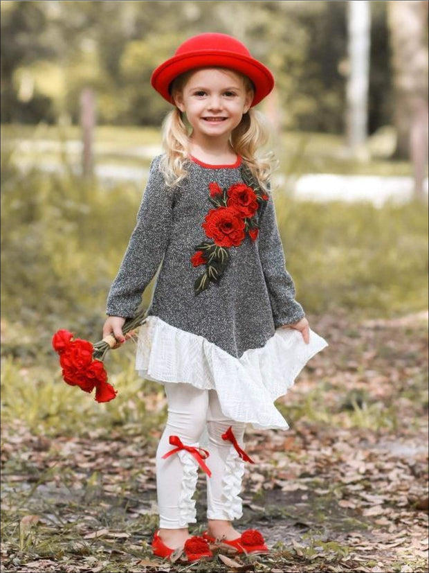 Girls Long Sleeve Ruffled Tunic with Flower Applique & Matching Bow Leggings Set - Girls Fall Dressy Set