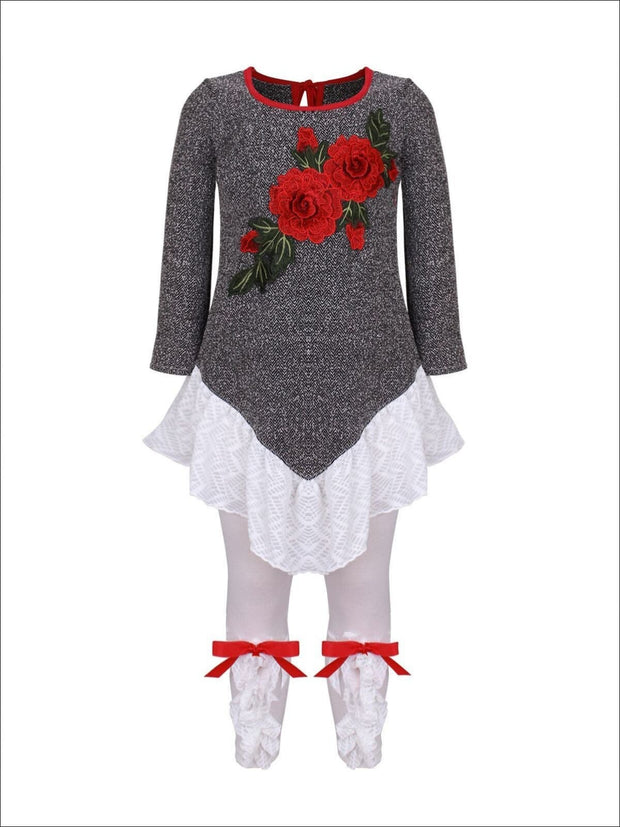 Girls Long Sleeve Ruffled Tunic with Flower Applique & Matching Bow Leggings Set - Grey / 2T/3T - Girls Fall Dressy Set