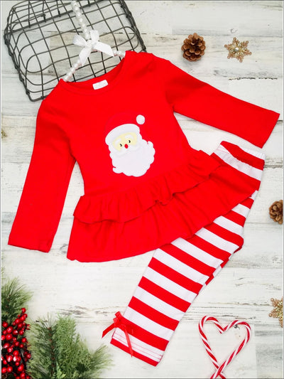 Girls Long Sleeve Santa Applique Double Ruffle Peplum Tunic & Striped Leggings Set - Red / 2T - Girls Christmas Set