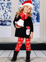 Girls Long Sleeve Santa Applique Tunic Christmas Print Leggings & Scarf Set - Girls Christmas Set