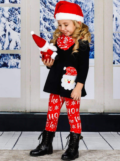 Girls Long Sleeve Santa Applique Tunic Christmas Print Leggings & Scarf Set - Red / 3T - Girls Christmas Set