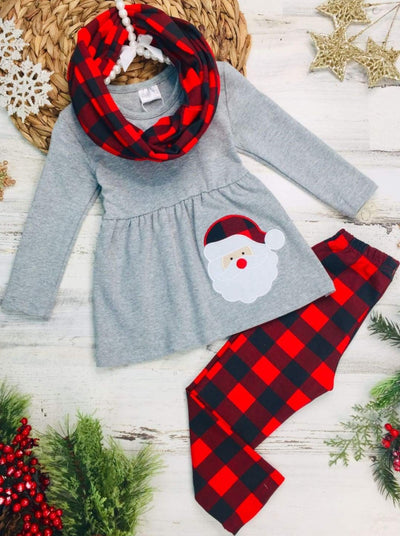 Girls Long Sleeve Santa Applique Tunic Plaid Leggings & Scarf Set - Red / 2T - Girls Christmas Set