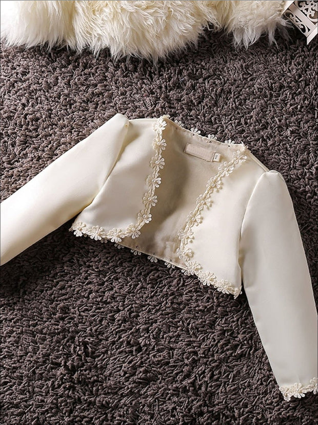 Girls Long Sleeve Satin Floral Applique Bolero - Beige / 2T - Girls Jacket