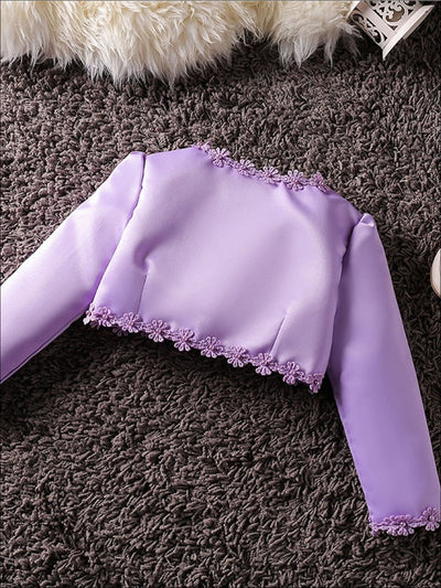 Girls Long Sleeve Satin Floral Applique Bolero - Purple / 2T - Girls Jacket