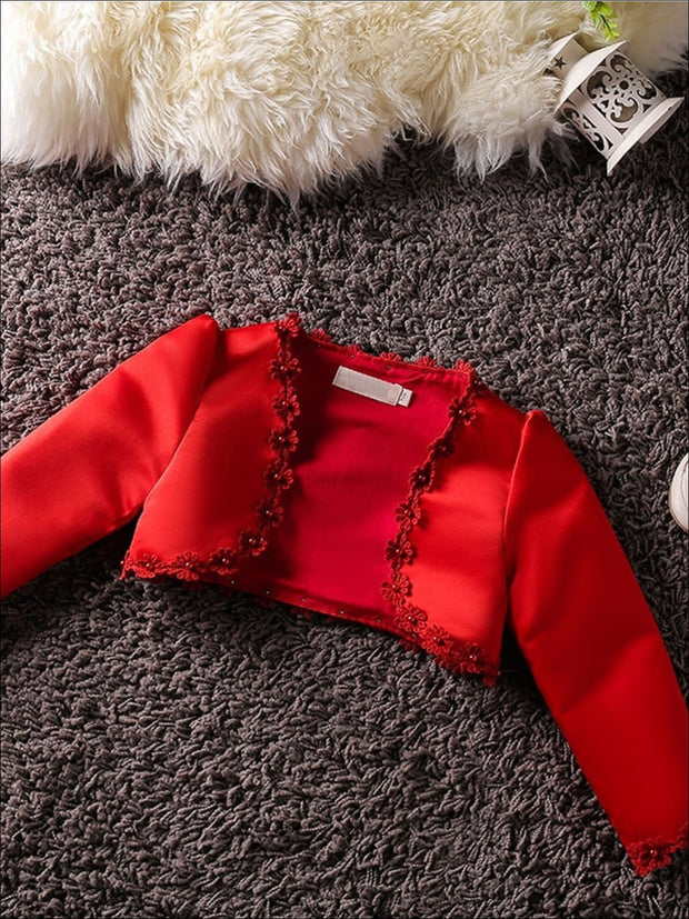 Girls Long Sleeve Satin Floral Applique Bolero - Red / 2T - Girls Jacket