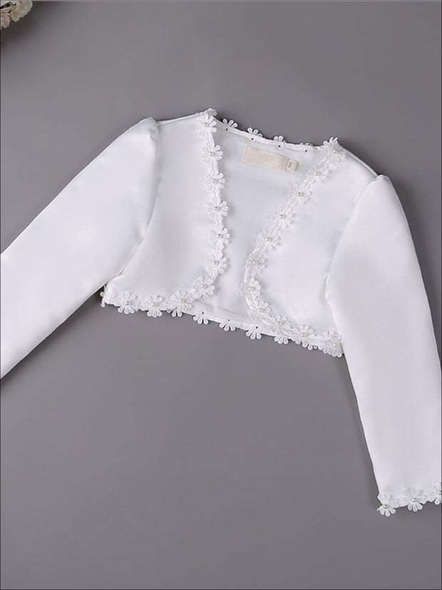 Girls Long Sleeve Satin Floral Applique Bolero - White / 2T - Girls Jacket