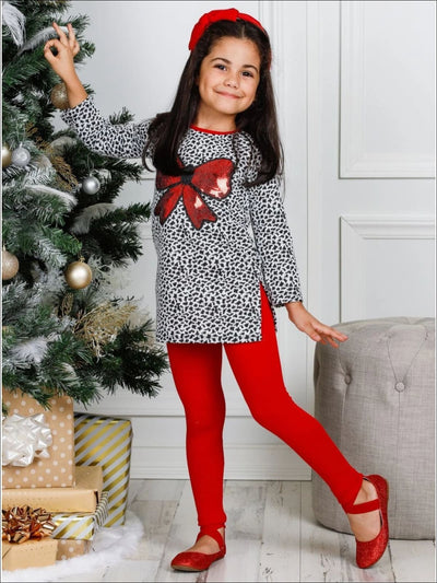 Girls Long Sleeve Sequin Bow Applique Tunic & Leggings Set - Girls Fall Casual Set