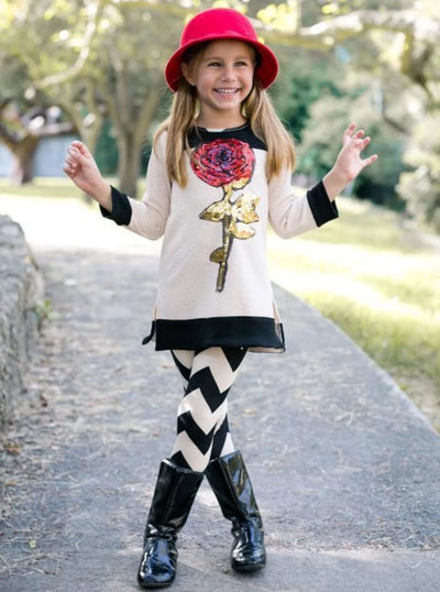 Girls Long Sleeve Side Slit Cuffed Tunic with Sequin Rose Applique & Zig Zag Leggings Set - Beige / 2T-3T - Girls Fall Casual Set