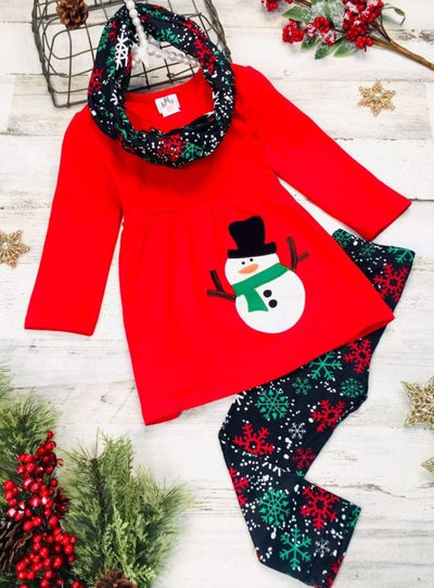 Girls Long Sleeve Snowman Applique Tunic Snowflake Print Leggings & Scarf Set - Red / 4XL-10Y - Girls Christmas Set