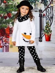 Girls Long Sleeve Snowman Tunic Polka Dot Leggings & Scarf Set - White / 4XL-10Y - Girls Fall Casual Set