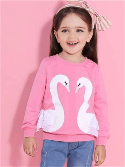 Girls Long Sleeve Swan Sweatshirt with Ruffles - Girls Sweater