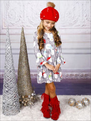Girls Long Sleeve Swirl Snowman Print Dress with Bell Sleeves - Girls Christmas Dress