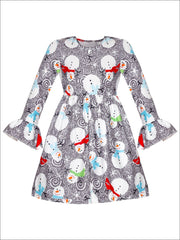 Girls Long Sleeve Swirl Snowman Print Dress with Bell Sleeves - Grey / S-3T - Girls Christmas Dress