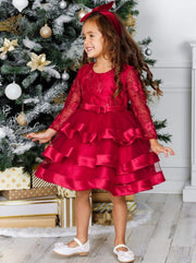 Girls Long Sleeve Tiered Lace Princess Holiday Dress - Girls Fall Dressy Dress