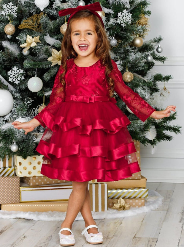 Girls Long Sleeve Tiered Lace Princess Holiday Dress - Red / 3T - Girls Fall Dressy Dress