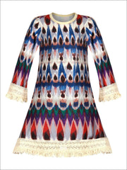 Girls Long Sleeve Tribal Print A-Line Crochet Fringe Twiggy Dress - Girls Fall Casual Dress