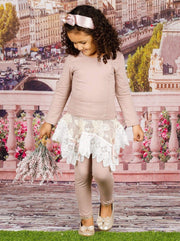 Girls Long Sleeve Tunic Crochet Skirt & Leggings Set - Girls Spring Dressy Set