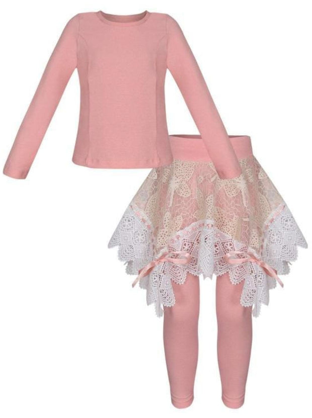 Girls Long Sleeve Tunic Crochet Skirt & Leggings Set - Pink / 2T/3T - Girls Spring Dressy Set