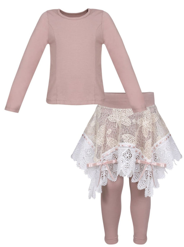 Girls Long Sleeve Tunic Crochet Skirt & Leggings Set - Taupe / 2T/3T - Girls Spring Dressy Set