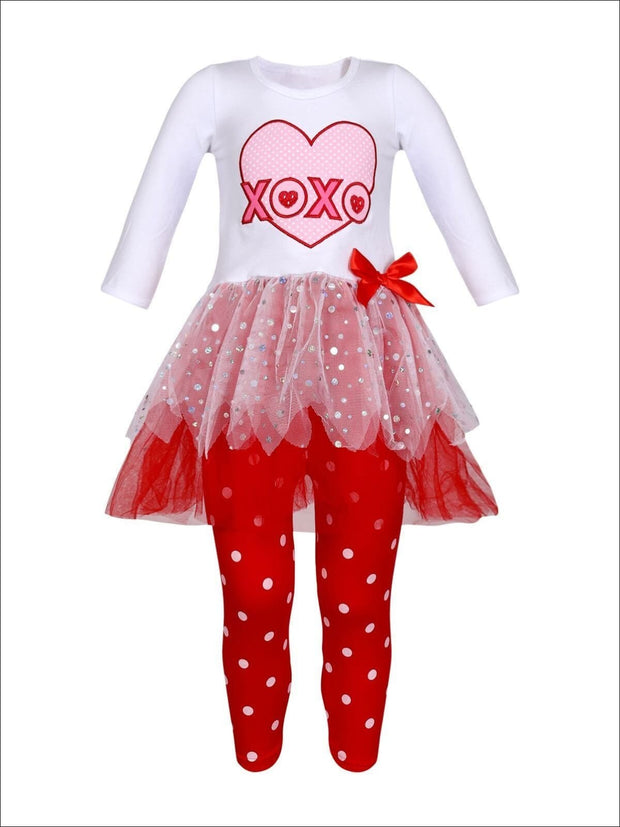 Girls Long Sleeve XOXO Heart Tutu Tunic & Polka Dot Leggings Set - Red / 8Y - Girls Fall Casual Set