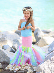 Girls Long Strapless Mermaid Tutu Halloween Costume - Girls Halloween Costume