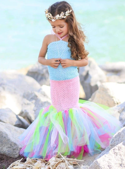Girls Long Strapless Mermaid Tutu Halloween Costume - Blue/Pink / 2T - Girls Halloween Costume
