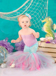 Girls Long Strapless Mermaid Tutu Halloween Costume - Lavender / 2T - Girls Halloween Costume