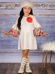 Girls Long Tiered Ruffled Sleeve Dress with Floral Trim - Girls Fall Dressy Dress
