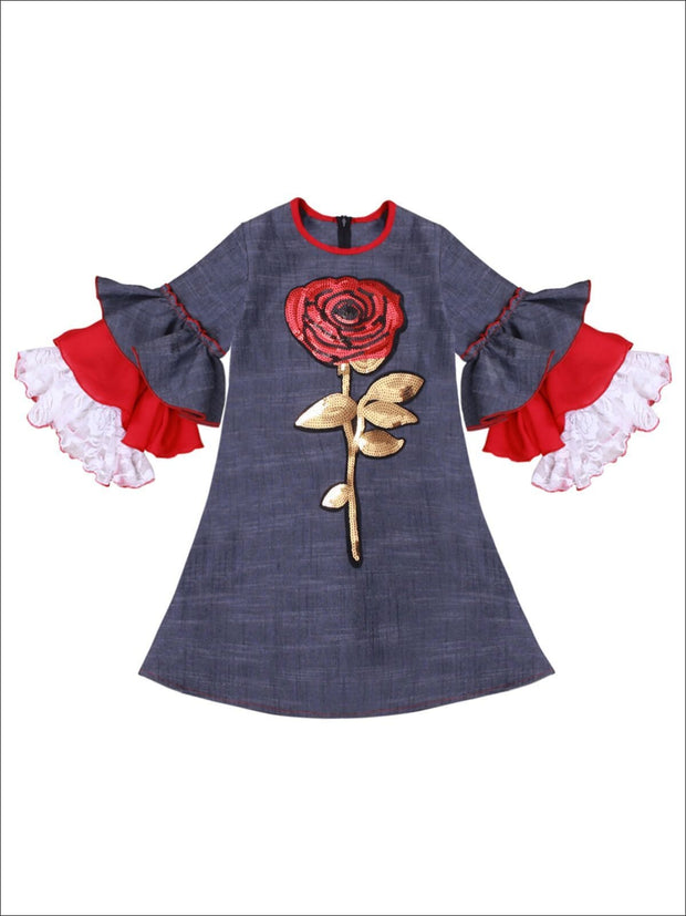 Girls Long Tiered Ruffled Sleeve Dress with Floral Trim - Blue / 2T-3T - Girls Fall Dressy Dress