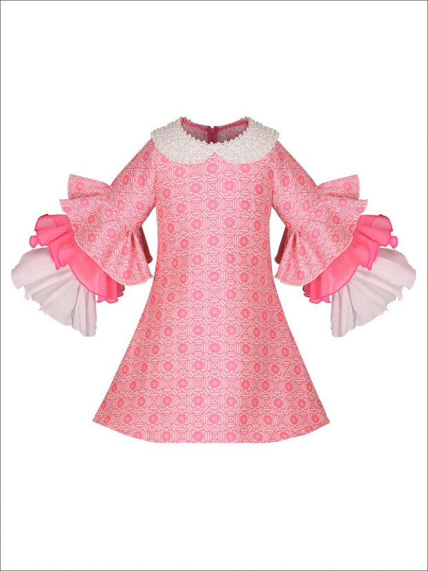 Girls Long Tiered Ruffled Sleeve Dress with Floral Trim - Pink / 2T-3T - Girls Fall Dressy Dress