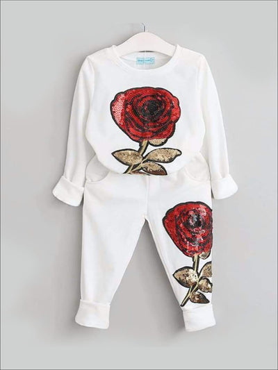 Girls Lounge Set with Red Sequin Rose Applique - White / 3T - Girls Fall Casual Set