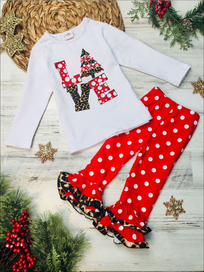 Girls Love Christmas Tree Top and Ruffled Leggings Set - 2T / Red - Girls Christmas Set