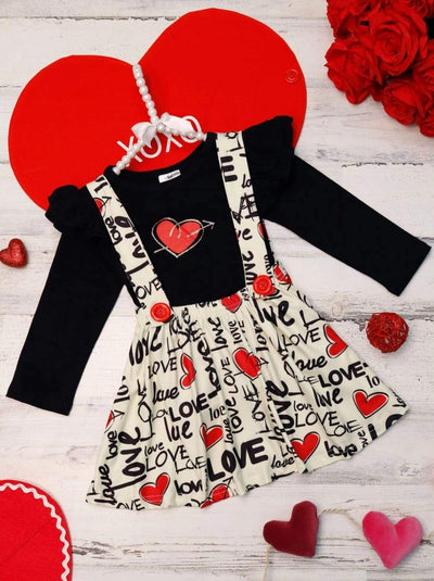 Girls Love Heart Ruffled Top and Overall Dress - Creme / 2T - Girls Fall Casual Set