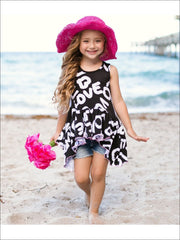 Girls Love Printed Side Tail Ruffle Hem Tunic - Girls Spring Top