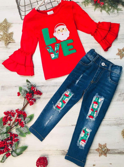 Girls Love Santa Ruffled Top and Ripped Jeans Set - Red / 2T - Girls Christmas Set
