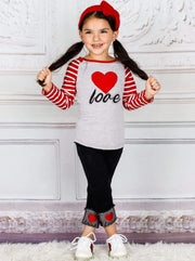 Girls Love Striped Raglan Long Sleeve Top & Jeggings Set - Girls Fall Casual Set