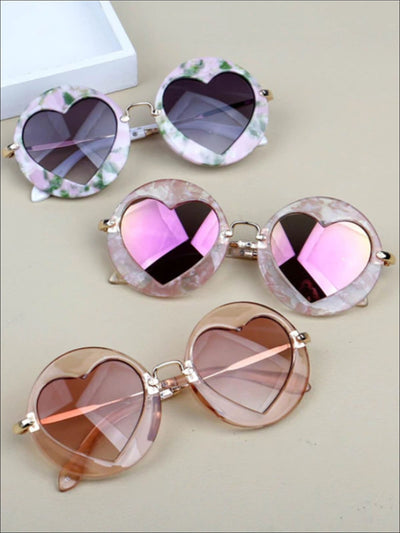 Girls Luxury Heart Shaped Marble Framed Sunglasses - Girls Accessories