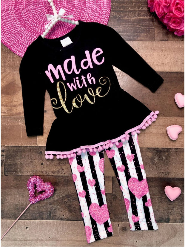 Girls Made with Love Peplum Pom Pom Tunic & Heart Striped Leggings Set - Black / 2T - Girls Fall Casual Set
