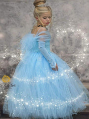 Girls Magical Deluxe Princess Cinderella Inspired Tulle Halloween Costume Dress - Girls Halloween Costume