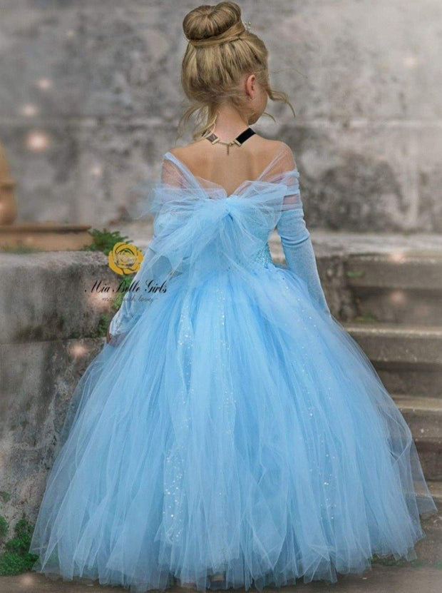 Girls Magical Deluxe Princess Cinderella Inspired Tulle Halloween Costume Dress - 2T / Blue - Girls Halloween Costume