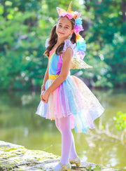 Girls Magical Golden Rainbow Unicorn Costume - Girls Halloween Costume