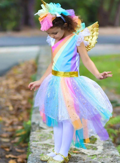Girls Magical Golden Rainbow Unicorn Costume - 4T/5Y - Girls Halloween Costume