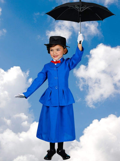 Girls Magical Mary Poppins Inspired Halloween Costume with Gloves - Girls Halloween Costume