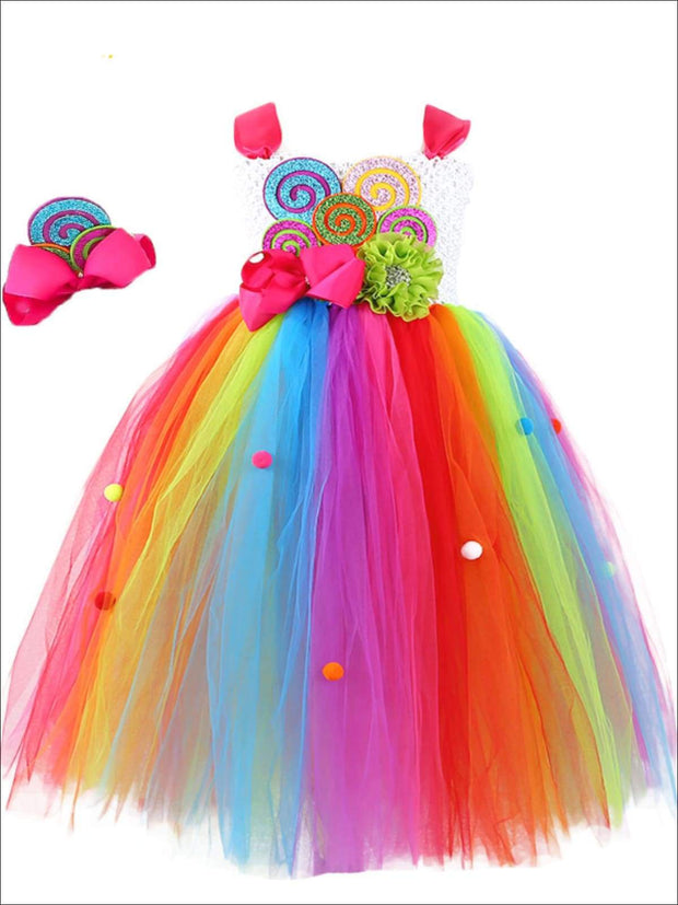 Girls Magical Rainbow Candy Fairy Halloween Tutu Dress with Matching Headband - Girls Halloween Costume
