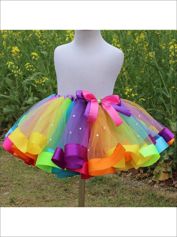 Girls Magical Rainbow Tutu With Rhinestones - Girls Skirt