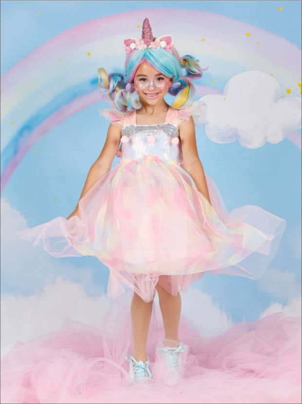 Girls Magical Sequined Rainbow Unicorn Halloween Costume Dress - Girls Halloween Costume