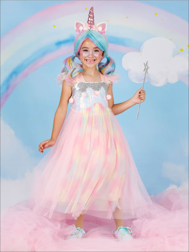Girls Magical Sequined Rainbow Unicorn Halloween Costume Dress - Multicolor / 3T - Girls Halloween Costume