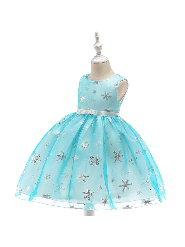 Girls Magical Snowflake Holiday Special Occasion Dress (Pink & Blue) - Girls Fall Dressy Dress